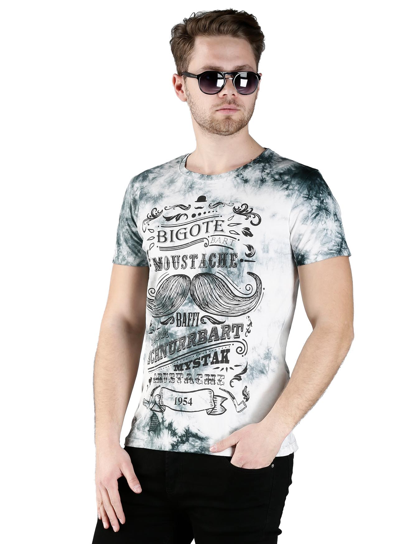 Ανδρικό T-Shirt Moustache 1954 - GRACE-JOHN - 2279