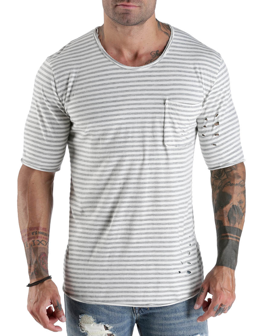 Ανδρικό T-Shirt Holes & Stripes - TAF - T-1102